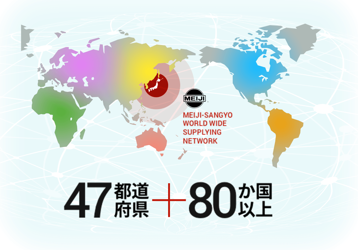 80 OVER COUNTRIES MEIJI-SANGYO WORLD WIDE SUPPLYING NETWORK